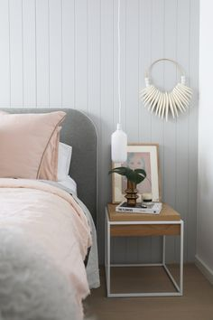norsu interiors x The Cullin Design Curved bedhead, Felt with White Leather Piping Bedhead Design, Master Bedroom Interior, Bedroom Inspo, Warwick Fabrics, Bed Head, Cozy Cottage, Art Furniture, Baby Design, Soft Furnishings