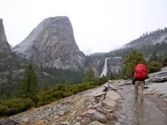 Heading to Half Dome in the rain via John Muir Trail  www.yonder.it  GET THE APP! @yonderapp