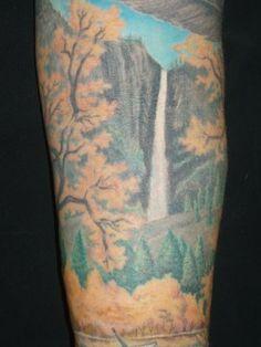 landscape tattoo bridal veil falls, yosemite - looks more like Yosemite Falls, to me.