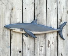 Shark Wood Carving Decor Hand Carved Reclaimed by EcoArtWoodDesign