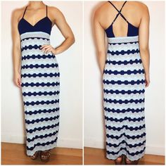 """Anthropologie Maxi Dress Anthropologie Saturday Sunday maxi dress. -Criss-cross strap back -Stretchy fabric. -Built in bra cups. -By Saturday Sunday. -Length from armpit: 47"""" (For reference, I am 5'5"""") -Excellent condition!  NO Trades. Please make all offers through offer button. Anthropologie Dresses Maxi"""