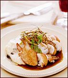 Lobster with Pinot Noir Sauce, Salsify Puree and Frizzled Leeks Recipe from Food & Wine
