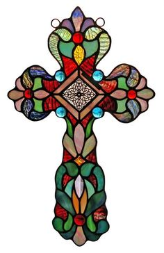~~ONE THIS PRICE~~ Tiffany Style Stained Glass Cross Design Window Panel | eBay