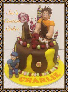 Wreck it ralph cake Sugar Rush, fondant wreck it ralph, fondant Felix fill, cherry bombs. 100% edible