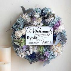 ウエルカムリース Wreath Crafts, Diy Wreath, Wreaths, Wedding Welcome, Wedding Gallery, Clay Crafts, Dried Flowers, Peonies, Wedding Flowers