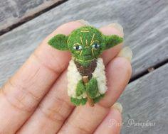 Star Wars Plush Toy, Miniature Felt Yoda, Yoda stuffed Plush, Tiny Felt Yoda, Miniature Felted Yoda, Handmade Master Yoda, Yoda Plushie by PixiePumpkins on Etsy https://www.etsy.com/listing/253719547/star-wars-plush-toy-miniature-felt-yoda