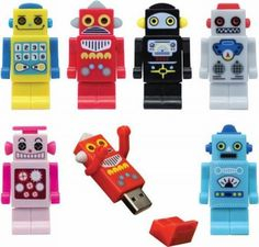 Robot USB flash drives  from Slippery Brick http://www.slipperybrick.com/2009/06/robot-usb-flash-drives-with-personality/
