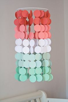 Coral and Mint Ombré Paper Crib Mobile by FourGlitteredGeese, $38.00