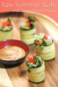 Cucumber Rolls with Ginger Peanut Sauce - a vegan, dairy-free, gluten-free recipe from Ani's Raw Food Asia