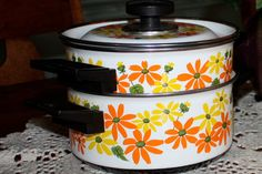 Retro Orange and Yellow Pots & Pans / Tangerine Lemon. $25.00, via Etsy.