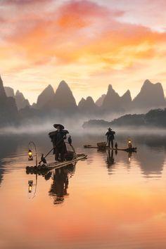 Cormorant Fishermen in Guilin, China - Anne McKinnell Photography Beautiful World, Beautiful Places, Beautiful Pictures, Landscape Photography, Nature Photography, Image Nature, Guilin, Chinese Landscape, Belle Photo