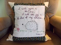 Hand embroidered pillow made by content sew Embroidered Pillows, Feather Pillows, Pillow Inserts, Hand Sewing, How To Draw Hands, Reusable Tote Bags, Joy, Content, Embroidery