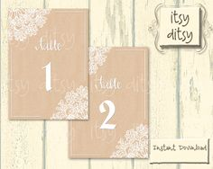 Lace Doily printable table number cards  by itsyditsydesigns, $7.00