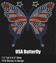 Rhinestone butterfly 4th of July red white by BeyondtheBlingUSA, $25.00