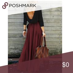 Flowy Open Back Draped Maxi Dress Brand new!  Dress is the color of the first picture and doesn't include belt. Boutique Dresses Maxi