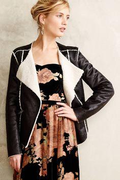 Vegan Leather Shearling Jacket - anthropologie.com