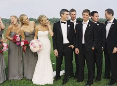grey and different shades of pink. groomsmen wearing pale pink and grey bowties!