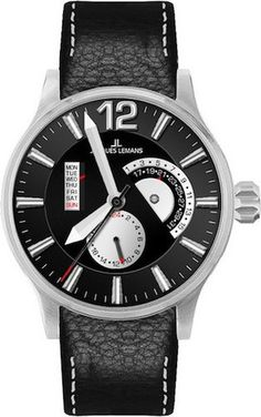 Jacques Lemans 1-1741G Men's Watch Date/Day Black Leather Strap Black Dial