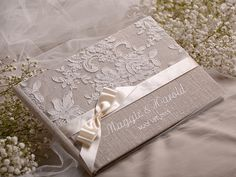Wedding Guest Book, Guestbook, Lace, Shabby Chic Natural Linen Lace, custom colors , emboroidery names
