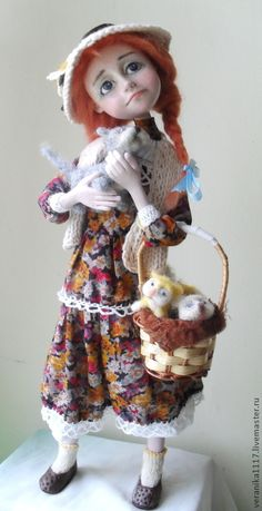 """*NEEDLE FELTED ART ~ Collectible handmade dolls.  Fair Masters - handmade Dolls """"I'll give the kittens in good hands.""""  Handmade."""