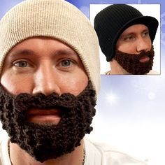 """""""Crochet beards! They keep your nose and cheeks toasty, without having to look like a creepy robber."""" -- yeah, this isn't creepy at all..."""