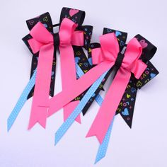 Black Funky Love w Pink Equestrian - Pluff Bows Love W, Boutique Bows, Bow Ties, Equestrian, Hair Bows, Gift Wrapping, Pretty, Pink, Black
