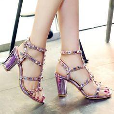 cdf2bd4e1fea Chunky Heel Rivets Sandals