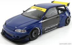 IGNITION-MODEL IG1051 Scale 1/18  HONDA CIVIC EG6 PANDEMTUNED VERSION 1991 BLUE YELLOW