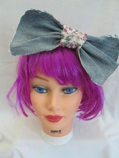 Jean Flower Hairbow on Etsy, $9.99