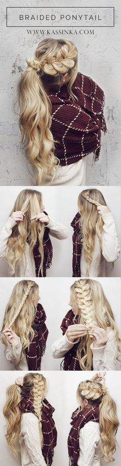 Prettiest Braided Hairstyles for Long Hair with Tutorials Braided Ponytail Hair Tutorial. Braided Crown Hairstyles, Braided Hairstyles Tutorials, Braided Ponytail, Cool Hairstyles, Hairstyle Ideas, Winter Hairstyles, Braid Tutorials, Curly Ponytail, Easy Pretty Hairstyles