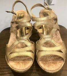6049e7859364 BOC Born Concept Womens Gold Cork Wedge Sandals Leather Strappy Heel 9M EU40.5   fashion  clothing  shoes  accessories  womensshoes  sandals (ebay link)