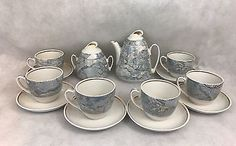 Vintage-Tea-Set-Blue-White-Gold-Signed-TL-16-Pieces-Gift-Collectible