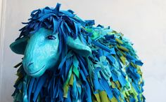 paper mache sheep-covered with fiber and textile mix-liatart.com