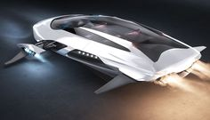 Kia Gerrida is a jet hover car concept inspired by maglev technology combined with jet thrusters.
