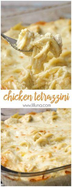 Easy and delicious Cheesy Chicken Tetrazzini - a family favorite dinner meal! { lilluna.com } halve recipe too! #chickenfoodrecipes