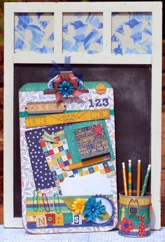 Denise van Deventer created this fabulous clipboard and pencil holder for a teachers gift using the new Pop Quiz collection. Such a creative idea! #BoBunny, @Denise van Deventer