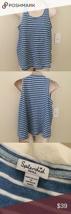 New Splendid Oversized Striped Tank Top Small This is a Splendid striped tank top. Size small. Slightly oversized. Made of 100% cotton. Blue and white. New condition. Splendid Tops Tank Tops