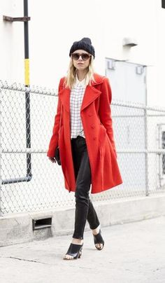 30 ways to wear leather pants this fall/winter - red coat, check shirt + mules
