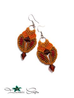 Handmade Macrame earrings made with wax cord glass by ImbaliCrafts