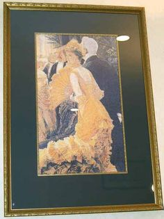 Narrow gold frame, dramatic wide black mat, and a line of gold beading.  This is The Ball - James-Jacques-Joseph Tissot (by Scarlet Quince).