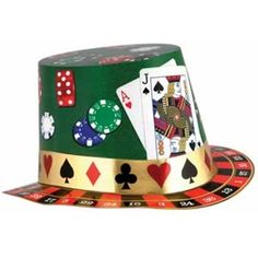 CASINO HAT WITH CARDS & ROULETTE WHEEL