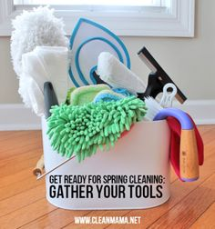 Gather your tools and get a free checklist   Spring cleaning ideas from Clean Mama, featured on Gooseberry Patch
