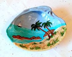 Hand painted clam shell with palm trees sand and seashore, unique coastal decor, seashell art, shell crafts