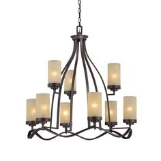 Designers Fountain 83689-TU Designers Fountain 83689-TU Castello 9 Light Chandelier in Tuscana finish with Antique Linen glass