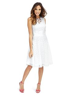 Shop Sleeveless Lace-Overlay Dress . Find your perfect size online at the best price at New York & Company.