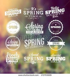 Spring Typographic Design Set - stock vector