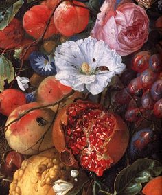 Jan Davidsz. de Heem: Festoon of fruit and flowers (detail, 1660) painting