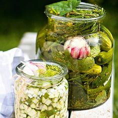 Kurkkusäilyke x 5 - Kotiliesi. My Favorite Food, Favorite Recipes, Preserves, Pickles, Cucumber, Nom Nom, Mason Jars, Bakery, Berries
