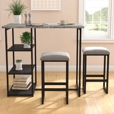 Gardiner 3 Piece Pub Table Set - Muebles hierro y madera Patio Bar Set, Pub Table Sets, A Table, Pub Tables, Dining Table, Counter Height Pub Table, Tempered Glass Shelves, Table Shelves, Open Shelves
