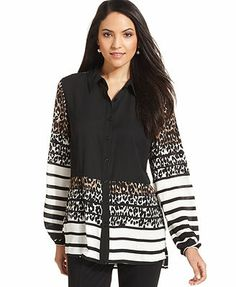 Style&co. Striped Animal-Print Button-Front Shirt